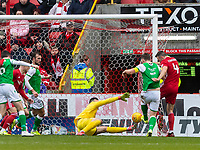 7th March 2020; Pittodrie Stadium, Aberdeen, Scotland; Scottish Premiership Football, Aberdeen versus Hibernian; Andrew Considine of Aberdeen makes the score 2-1 for Aberdeen in the 66th minute