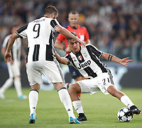 Football Soccer: UEFA Champions League semifinal second leg Juventus - Monaco, Juventus stadium, Turin, Italy,  May 9, 2017. <br /> Juventus' Paulo Dybala (r) and Gonzalo Higuain (l) in action during the Uefa Champions League football match between Juventus and Monaco at Juventus stadium, on May 9, 2017.<br /> UPDATE IMAGES PRESS/Isabella Bonotto