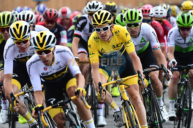 Race leader Yellow Jersey Geraint Thomas (WAL) and Team Sky lead the peloton during Stage 21 of the 2018 Tour de France running 116km from Houilles to Paris Champs-Elysees, France. 29th July 2018. <br /> Picture: ASO/Alex Broadway | Cyclefile<br /> All photos usage must carry mandatory copyright credit (© Cyclefile | ASO/Alex Broadway)