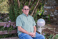 NWA Democrat-Gazette/ANTHONY REYES • @NWATONYR<br /> James Crownover outside his home Thursday, Sept. 24, 2015 in Elm Springs. Crownover won two Spur awards for his first published western novel.