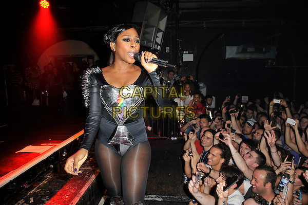 Alexandra Burke .performing live in concert .at G-A-Y, Heaven nightclub, London, England, UK, 2nd June 2012..music live on stage gig half length studded spikes silver grey gray leotard black tights lightning heart microphone singing audience crowd .CAP/MAR.© Martin Harris/Capital Pictures.