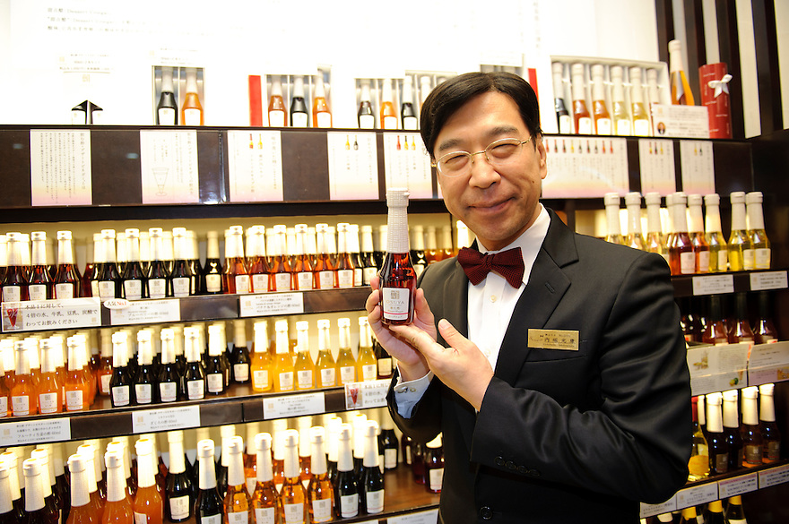 Uchibori vinegar company president, Mitsuyasu Uchibori, at the Osuya vinegar cafe, Ginza, Tokyo, Japan, June 28, 2011. Uchibori produces a popular range of drinkable fruit vinegars.