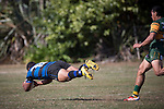 Elijah Koaneti dives over to score Onehwero's third try. Counties Manukau Premier Club Rugby game between Onewhero and Pukekohe, played at Onewhero, on Saturday April 05 2014. Onewhero won the game 28 - 23 after leading 17 - 15 at halftime.  Photo by Richard Spranger