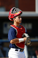 Jeremy Martinez of Mater Dei High School in Santa Ana, California participates in the Southern California scouts game for high school seniors at the Urban Youth Academy on February 9, 2013 in Compton, California. (Larry Goren/Four Seam Images)