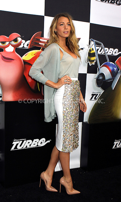 WWW.ACEPIXS.COM<br /> <br /> July 9 2013, New York City<br /> <br /> Blake Lively arriving at the 'Turbo' Premiere at AMC Loews Lincoln Square on July 9, 2013 in New York City. <br /> <br /> <br /> By Line: Nancy Rivera/ACE Pictures<br /> <br /> <br /> ACE Pictures, Inc.<br /> tel: 646 769 0430<br /> Email: info@acepixs.com<br /> www.acepixs.com