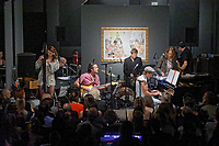"Pictured: The band performs. Saturday 21 September 2019<br /> Re: Concert for the exhibition of ""No More Shall We Part, 14 Paintings, 17 Years Later"", a collection of paintings based on the Nick Cave and the Bad Seeds album with the same name, by Stefanos Rokos at Bernerts Gallery in Antwerp, Belgium."