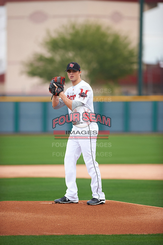Alec Seaward (16) of Kings Mountain High School in Kings Mountain, North Carolina during the Under Armour All-American Pre-Season Tournament presented by Baseball Factory on January 14, 2017 at Sloan Park in Mesa, Arizona.  (Zac Lucy/MJP/Four Seam Images)