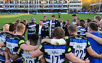 The Bath team huddle together after the match. Aviva Premiership match, between Bath Rugby and Harlequins on October 31, 2015 at the Recreation Ground in Bath, England. Photo by: Alex Davidson / JMP for Onside Images