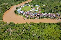 Long House; Aerial view; Sarawak, Malaysia; Borneo