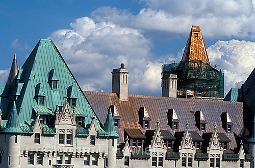 Copper roofing on Chateau Laurier Hotel, Ottawa, Canada showing several stages of weathering<br />