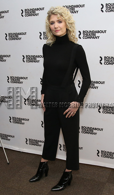 """Scarlett Strallen attends the """"Travesties"""" Meets The Press on March 6, 2018 at the Roundabout Theatre in New York City."""