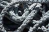 close-up of white ropes in a harbor<br /> <br /> detalle de cabos blancos en un puerto<br /> <br /> Nahaufnahme von wei&szlig;en Tauen in einem Hafen<br /> <br /> 1870 x 1238 px<br /> Original: 35 mm slide transparency