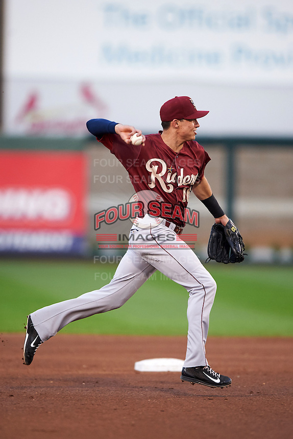 Frisco RoughRiders shortstop Drew Robinson (16) throws to first during a game against the Springfield Cardinals on June 3, 2015 at Hammons Field in Springfield, Missouri.  Springfield defeated Frisco 7-2.  (Mike Janes/Four Seam Images)