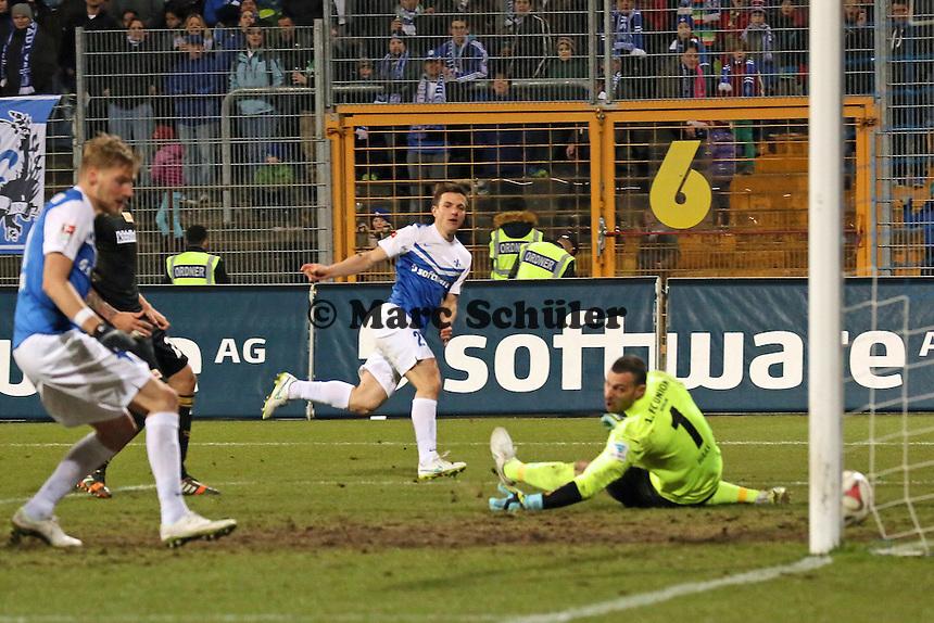 Milan Ivana (SV98) erzielt das 3:0 - SV Darmstadt 98 vs. 1. FC Union Berlin, Stadion am Boellenfalltor