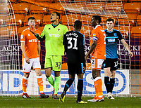 Blackpool's Christoffer Mafoumbi shouts encouragement to his teammates<br /> <br /> Photographer Alex Dodd/CameraSport<br /> <br /> The EFL Checkatrade Trophy Northern Group C - Blackpool v West Bromwich Albion U21 - Tuesday 9th October 2018 - Bloomfield Road - Blackpool<br />  <br /> World Copyright &copy; 2018 CameraSport. All rights reserved. 43 Linden Ave. Countesthorpe. Leicester. England. LE8 5PG - Tel: +44 (0) 116 277 4147 - admin@camerasport.com - www.camerasport.com