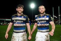 Nathan Catt and Tom Dunn of Bath Rugby are all smiles after the match. Aviva Premiership match, between Gloucester Rugby and Bath Rugby on March 26, 2016 at Kingsholm Stadium in Gloucester, England. Photo by: Patrick Khachfe / Onside Images
