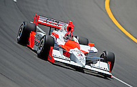 Jun. 20, 2008; Newton, IA, USA; IRL driver Helio Castroneves during practice for the Iowa Corn Indy 250 at the Iowa Speedway. Mandatory Credit: Mark J. Rebilas-