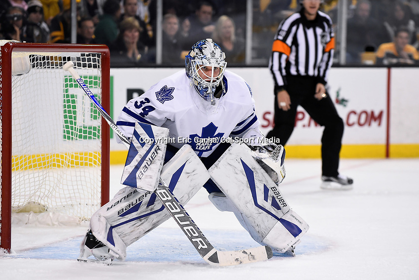 Saturday, November 21, 2015: Toronto Maple Leafs goalie James Reimer (34) waits for the puck to drop at a face off during the National Hockey League game between the Toronto Maple Leafs and the Boston Bruins held at TD Garden, in Boston, Massachusetts. The Bruins defeat the Maple Leafs 2-0 in regulation time. Eric Canha/CSM