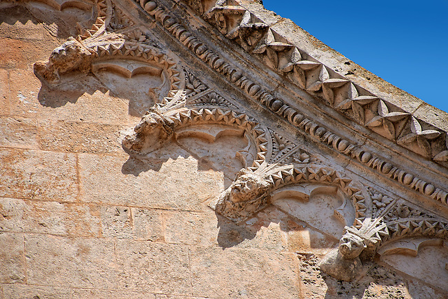 Medieval architectural details on the  Italian Gothic Cathedral of Ostuni built between 1569-1495  .Ostuni, The White Town, Puglia, Italy.