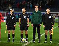 20191112 - LEUVEN , BELGIUM : North Macedonyan referees pictured with Elena Soklevska Ilievski , Vjolca Izeiri ,  Ivana Projkovska and Irena Velevackoska (4th official) during the female soccer game between the Belgian Red Flames and Lithuania , the fourth womensoccer game for Belgium in the qualification for the European Championship round in group H for England 2021, Tuesday 12 th November 2019 at the King Power Stadion Den Dreef in Leuven , Belgium. PHOTO SPORTPIX.BE | DAVID CATRY