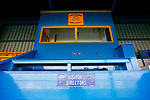 The press box at the Look Local Stadium. Stocksbridge Park Steels v Pickering Town, Evo-Stik East Division, 17th November 2018. Stocksbridge Park Steels were born from the works team of the local British Steel plant that dominates the town north of Sheffield.<br />