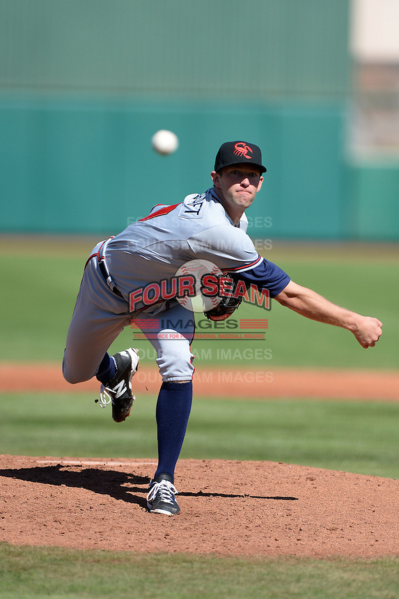 Scottsdale Scorpions pitcher Aaron Northcraft (60), of the Atlanta Braves organization, during an Arizona Fall League game against the Mesa Solar Sox on October 15, 2013 at HoHoKam Park in Mesa, Arizona.  Mesa defeated Scottsdale 7-4.  (Mike Janes/Four Seam Images)