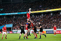 1st November 2019, Tokyo, Japan;  Jake Ball (WAL) wins the line-out ball;  2019 Rugby World Cup 3rd place match between New Zealand 40-17 Wales at Tokyo Stadium in Tokyo, Japan.  - Editorial Use