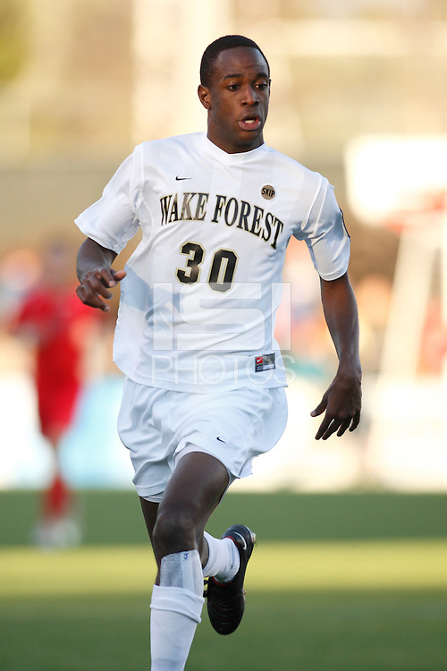 Wake Forest Demon Deacons midfielder Lyle Adams (30). The Wake Forest Demon Deacons defeated the Ohio State Buckeyes 2-1 in the finals of the NCAA College Cup at SAS Stadium in Cary, NC on December 16, 2007.