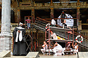 London, UK. 23.05.2017. Shakespeare's Globe presents TWELFTH NIGHT, by William Shakespeare, directed by Emma Rice, as part of the Summer of Love season. Picture shows: Le Gateau Chocolat (Feste - in nun's habit), Katy Owen (Malvolio - in yellow), Carly Bawden (Maria - in waitress uniform). Photograph © Jane Hobson.