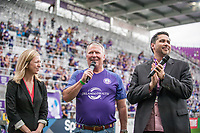Orlando, FL - Saturday April 22, 2017: Buddy Dyer, Flavio Augusto da Silva during a regular season National Women's Soccer League (NWSL) match between the Orlando Pride and the Washington Spirit at Orlando City Stadium.
