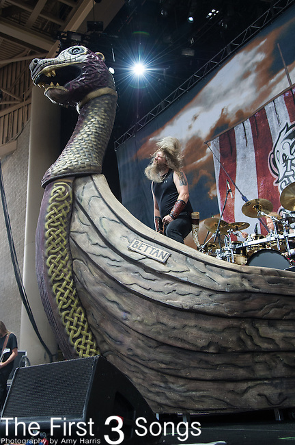 Johan Hegg of Amon Amarth performs during the 2013 Mayhem Festival at Klipsch Music Center in Indianapolis, Indiana.