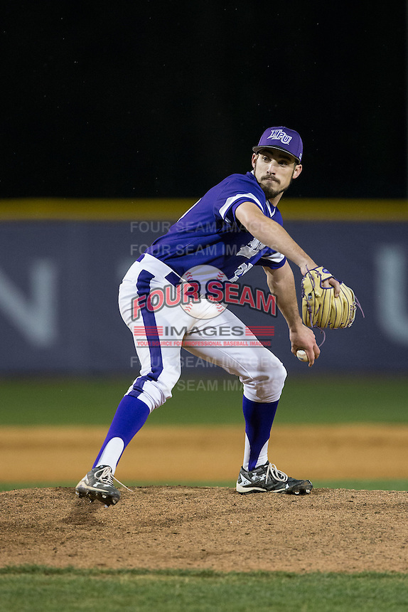 High Point Panthers relief pitcher Matt Hodges (25) in action against the NJIT Highlanders during game two of a double-header at Williard Stadium on February 18, 2017 in High Point, North Carolina.  The Highlanders defeated the Panthers 4-2.  (Brian Westerholt/Four Seam Images)