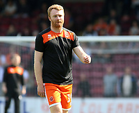 Blackpool's Chris Taylor during the pre-match warm-up <br /> <br /> Photographer David Shipman/CameraSport<br /> <br /> The EFL Sky Bet League One - Scunthorpe United v Blackpool - Friday 19th April 2019 - Glanford Park - Scunthorpe<br /> <br /> World Copyright © 2019 CameraSport. All rights reserved. 43 Linden Ave. Countesthorpe. Leicester. England. LE8 5PG - Tel: +44 (0) 116 277 4147 - admin@camerasport.com - www.camerasport.com