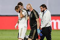 10th July 2020; Estadio Alfredo Di Stefano, Madrid, Spain; La Liga Football, Real Madrid versus Deportivo Alaves; Karim Benzema (Real Madrid)  goes off with a head injury