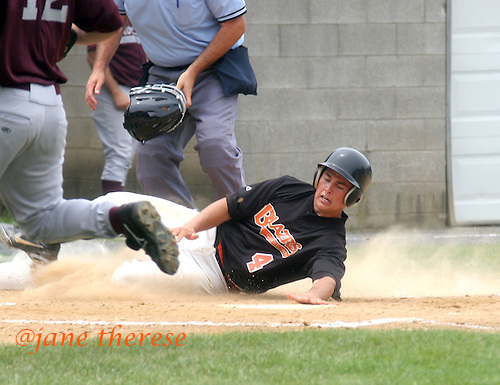 Quakertown's Blazers #4 Dan DeGeorge from Princeton University, scores a run during the bottom of the first inning against the Kutztown Rockies during the Atlantic Collegiate Baseball League on Tuesday July 4, 2006 at Quakertown Memorial Park in Quakertown, Pa. (Jane Therese/Special to The Morning Call).