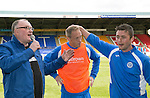 St Johnstone v Hearts...03.08.14  Steven Anderson Testimonial<br /> Tam Scobbie gives Steven Anderson a pat on the head as Stuart Cosgrove interviews him<br /> Picture by Graeme Hart.<br /> Copyright Perthshire Picture Agency<br /> Tel: 01738 623350  Mobile: 07990 594431