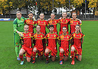20131011 - SCHWEINFURT , GERMANY :  Belgian team pictured with Jody Vangheluwe (22) , Charlotte Van Ishoven (17) , Amber Maximus (15) , Chloe Vande Velde (10) , Bieke Vandenbussche (8) , Inne De Smet (6) , Petra Baldewijns (5) , Jana Janssens (3) , Isabelle Iliano (2) , Justien Odeurs (1) and Laura Baetens (20) during the female soccer match between Belgium Women U17 and The Netherlands U17 , in the first game of the Elite round in group6 in the UEFA European Women's Under 17 competition 2013 in the Willy Sachs Stadium - Schweinfurt. Friday 11 October 2013. PHOTO DAVID CATRY