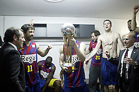 FC Barcelona Regal's President Ssandro Rosell celebrates the victory in the Spanish Basketball King's Cup Final match with Juan Carlos Navarro, Nathan Jawai, Marcelinho Huertas, Joe Ingles, CJ Wallace and Ante Tomic.February 07,2013. (ALTERPHOTOS/Acero)
