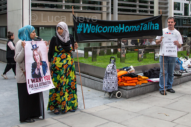 London, 17/08/2014. Today, a rally, organised by the &quot;Free Talha Ahsan Campaign&quot;, was held outside the Home Office to celebrate the homecoming of Talha Ahsan, after a US judge on the 16th July 2014 finally declared him a free man. From the organisers online press release: &lt;&lt;[&hellip;] &quot;Wasn't great to say goodbye?&quot; boasted Theresa May in the cruel extradition of Talha Ahsan. Talha is a British-born citizen, who suffers from Aspergers syndrome like Gary Mckinnon, was extradited to indefinite solitary confinement in US Supermax prison housing death row inmate after over 6 years of detention without trial, charge or prima facie evidence in the UK. [&hellip;] US-UK EXTRADITION is ruining the lives of too many British citizens and guest - and must be reform urgently&gt;&gt;.<br />