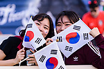 Soccer fans of South Korea wave national flags and show supports to their team prior to the AFC Asian Cup UAE 2019 Group C match between South Korea (KOR) and China (CHN)  at Al Nahyan Stadium on 16 January 2019 in Abu Dhabi, United Arab Emirates. Photo by Marcio Rodrigo Machado / Power Sport Images