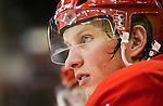 4 February 2011: Detroit Red Wings forward Justin Abdelkader (8) watches game action from the bench in the second period of the Columbus Blue Jackets at Detroit Red Wings NHL hockey game, at Joe Louis Arena, in Detroit, MI. (Tony Ding/Icon SMI)