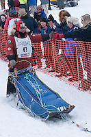 Musher # 43 Lou Packer at the Restart of the 2009 Iditarod in Willow Alaska