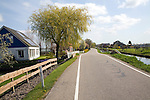 Dyke, canal, farmhouse, country road, Westgaag, near Maasluis, Netherlands