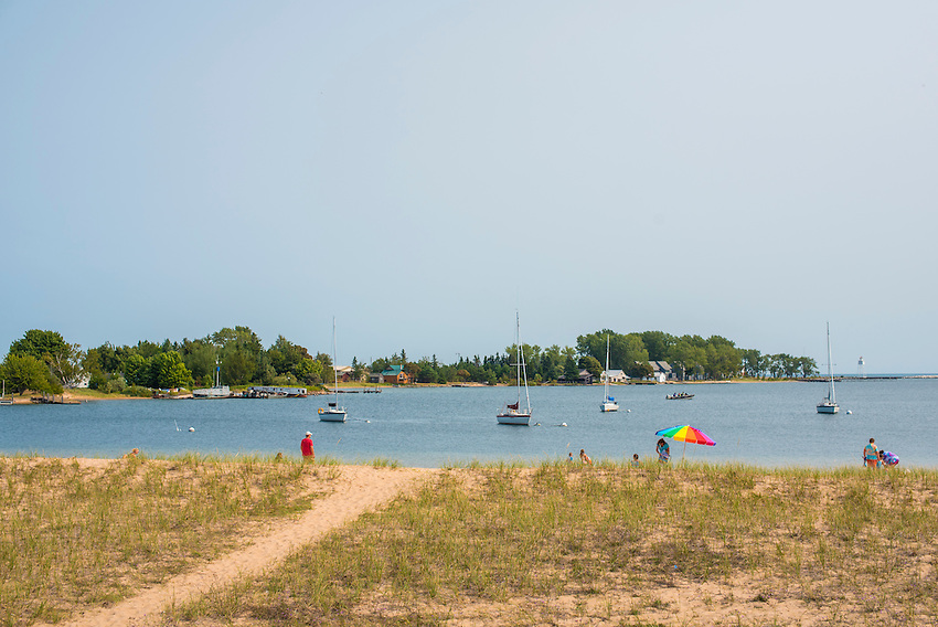 Grand Marais, Michigan beach and harbor.