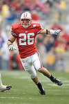 MADISON, WI - SEPTEMBER 9: Defensive back Zach Hampton runs down field during a kick off against the Western Illinois Leathernecks at Camp Randall Stadium on September 9, 2006 in Madison, Wisconsin. The Badgers beat the Leathernecks 34-10. (Photo by David Stluka)