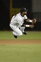 Second baseman Giovanny Alfonzo (6) of the Columbia Fireflies throws out a runner during a game against the Charleston RiverDogs on Wednesday, August 29, 2018, at Spirit Communications Park in Columbia, South Carolina. Charleston won, 6-1. (Tom Priddy/Four Seam Images)