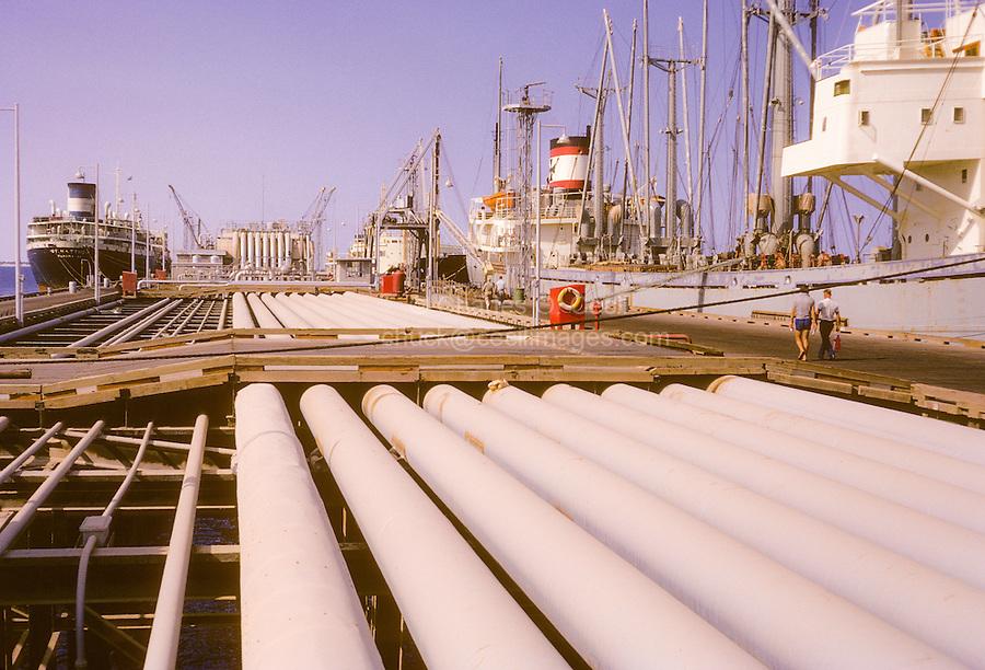 Kuwait, historic: November 1966  Loading Oil Tanker, Kuwait Oil
