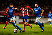 9th January 2018, Wanda Metropolitano, Madrid, Spain; Copa del Rey football, round of 16, second leg, Atletico Madrid versus Lleida; Diego Costa (Atletico de Madrid) breaks between defenders