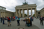 The Brandenburg Gate, the symbolic landmark of the Cold War barrier which was opened 15 years ago on 9th November 1989. It is now a tourist attraction in the heart of a redeveloped centre of the city.