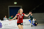 Rüsselsheim, Germany, April 13: Jennifer Geerties #15 of the Rote Raben Vilsbiburg serves the ball during play off Game 1 in the best of three series in the semifinal of the DVL (Deutsche Volleyball-Bundesliga Damen) season 2013/2014 between the VC Wiesbaden and the Rote Raben Vilsbiburg on April 13, 2014 at Grosssporthalle in Rüsselsheim, Germany. Final score 0:3 (Photo by Dirk Markgraf / www.265-images.com) *** Local caption ***